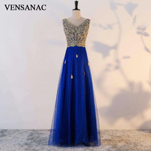 VENSANAC 2018 A Line V Neck Crystals Pattern Long Evening Dresses Elegant Lace Embroidery Tulle Party Prom Gowns