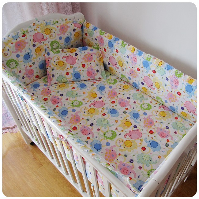 Promotion! 6PCS Nursery Bedding Set Baby Girl and Boy Crib Bedding Sets 100% Cotton  ,include(bumper+sheet+pillow cover) promotion 6pcs hello kitty baby nursery bedding sets baby crib bumper baby set include bumpers sheet pillow cover