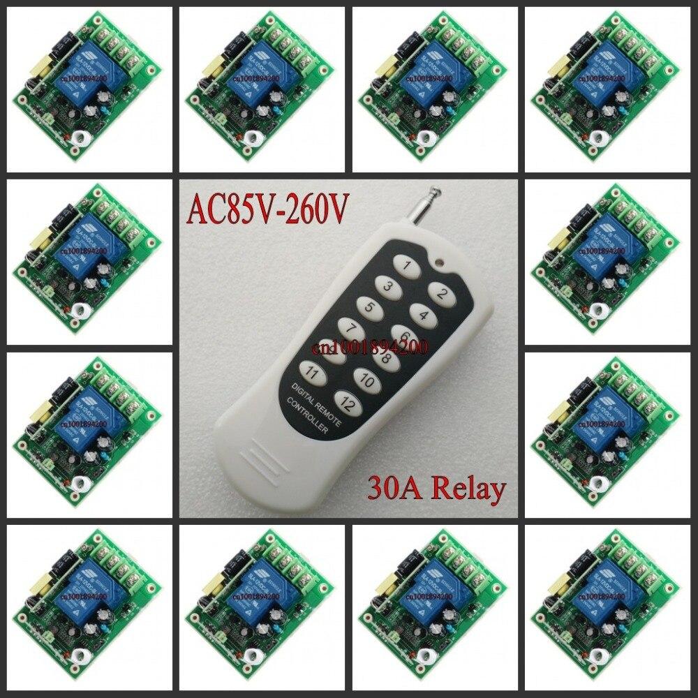 AC 85 V 260 V Fernschalter 110 V 12CH 30A Relais Receiver Transmitter Learning Code FRAGEN 315/433 Licht lampe LED Motor Netzschalter