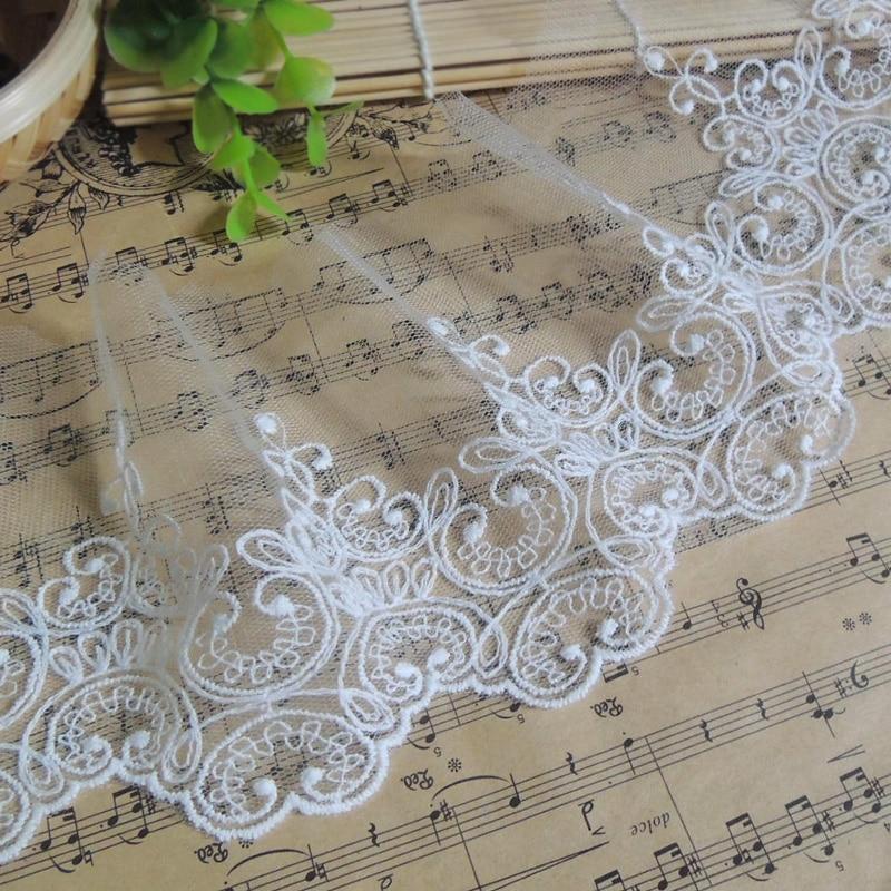 1 Yard/lot Breite: 9,5 cm Weiß Schwarz baumwolle bestickt mesh spitze Bekleidungs spitze trimmt posamenten DIY Nähen zubehör
