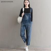 Qiukichonson Women Plus Size Jeans Vintage Solid Pockets High Waist Loose Harem Pants Female Casual Denim Jumpsuits Long Rompers