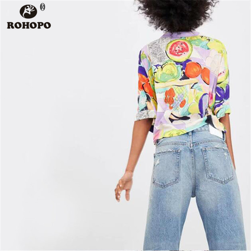 ROHOPO Women Fruit Blouse Summer Short Sleeve Crop Printed Holidways Tie Dyed Top Shirt 2019 Cartoon Casual Blouse XZ2005 in Blouses amp Shirts from Women 39 s Clothing