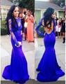 2016 Vestido de Noche de Encaje con Espalda Abierta Mangas Largas Sexy Sirena Piso-Longitud Apliques Royal Blue Prom vestidos vestidos de fiesta
