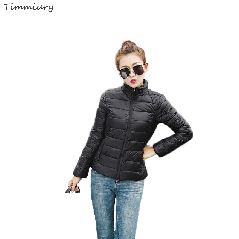 2016 Winter Women Solid Short Parka Coat Light Weight Stand Collar Black/Pink/Red/Blue Plus Size Jackets Manteau Doudoune Femme