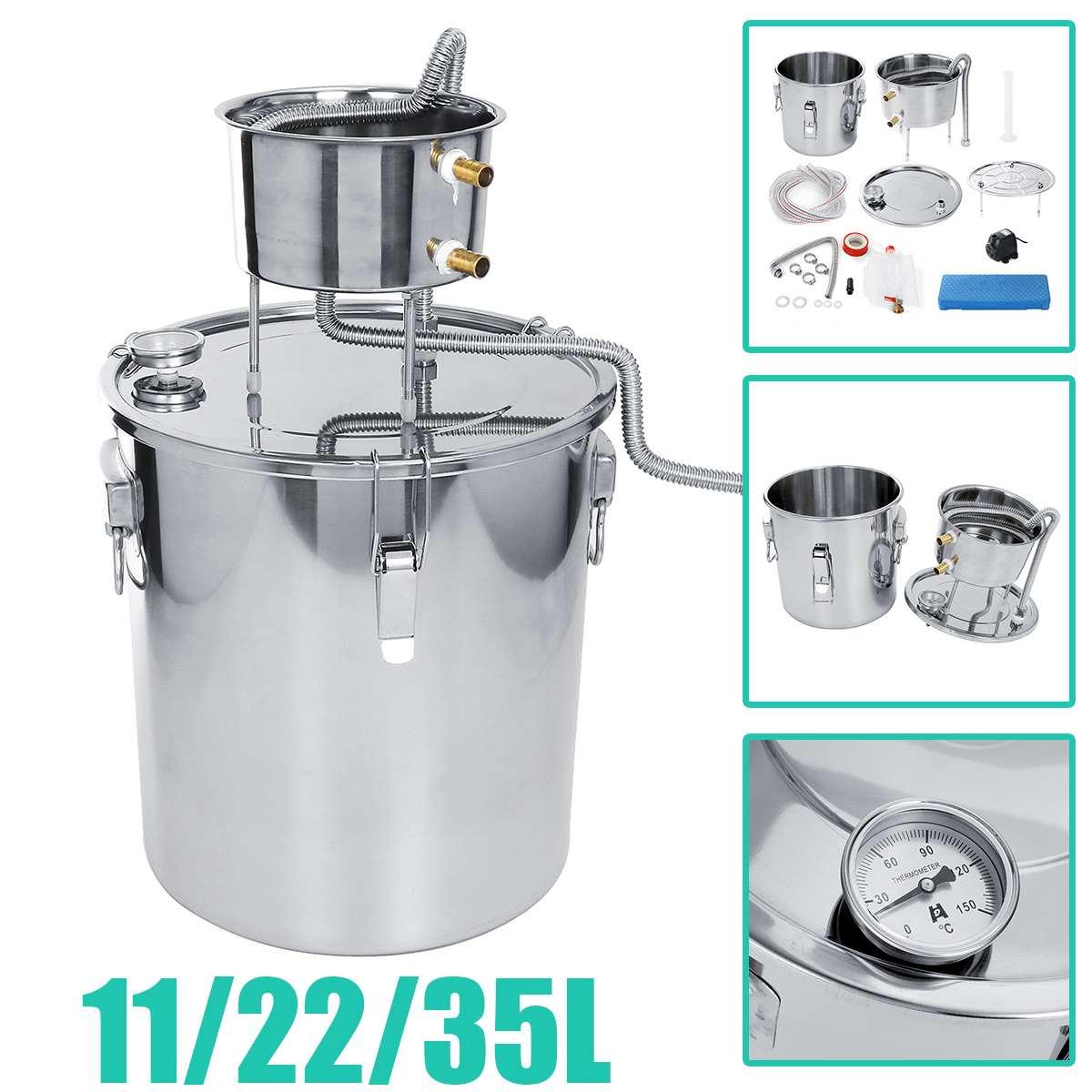 35L 304 chaudière en acier inoxydable Mini distillateur d'alcool Moonshine accueil Bar vin faisant la Machine eau whisky bière filtre faisant la trousse d'outils