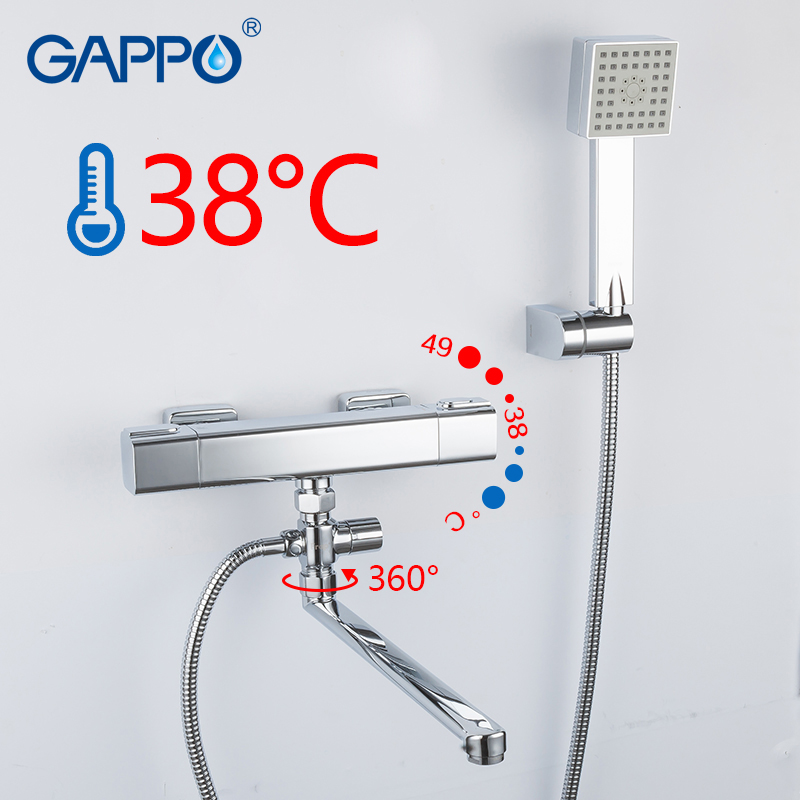 GAPPO Bathtub Faucets chrome bathroom shower wall mounted thermostat bathtub faucets brass bath taps shower mixer