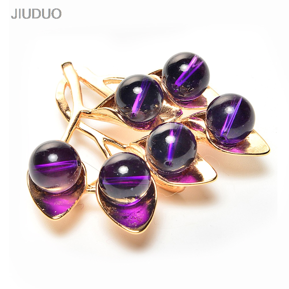 Brooch Retro Scarf Buckle Leaf Purple Natural Stone Rose Golden For Girl/Women