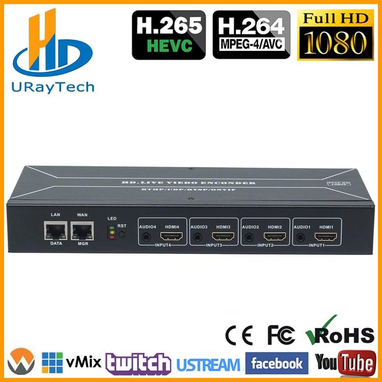 Encodeur de flux vidéo HEVC H.265 H.264 HDMI vers IP encodeur de flux vidéo en direct HD encodeur IPTV 4 canaux HDMI vers HTTP RTSP RTMP