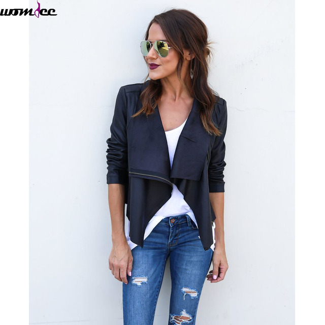 women long sleeve lapel pleated suede jacket Female fashion casual slim faux leather outerwear leather zipper jacket motorcycle