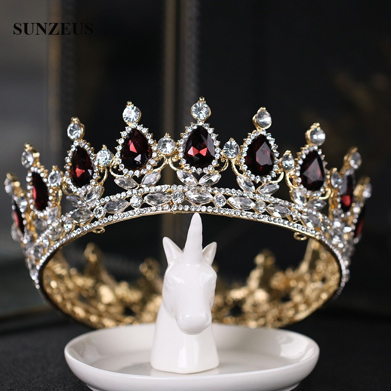 Luxury Round Queen Crowns Shinny Crystal Gold Bridal Tiara With Burgundy Rhinestones 2020 New Princess Marrige Accessory SQ0295