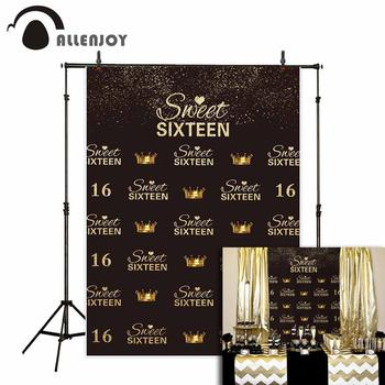 Allenjoy photography photo background gold glittler sweet sixteen crown repeat birthday backdrops photophone studio props image