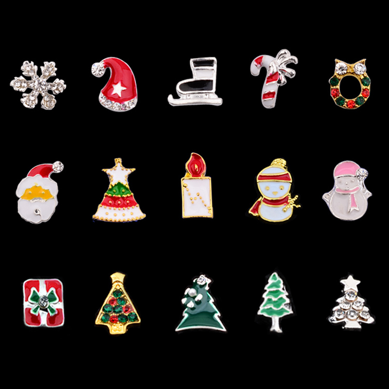 10 Pcs Christmas Alloy Nail Rhinestones Decorations Snowflake Boots Trees Charm Designs 3d Beauty Manicure Nail Accessories