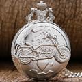 Новое Прибытие Серебристый Карманные Часы Мотоциклов Pattern Relogio Де Bolso Кварцевые Часы с Цепи Ожерелье P455