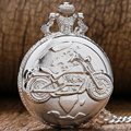 New Arrival Silver Color Pocket Watch Motorcycles Pattern Relogio De Bolso Quartz Watch with Necklace Chain P455