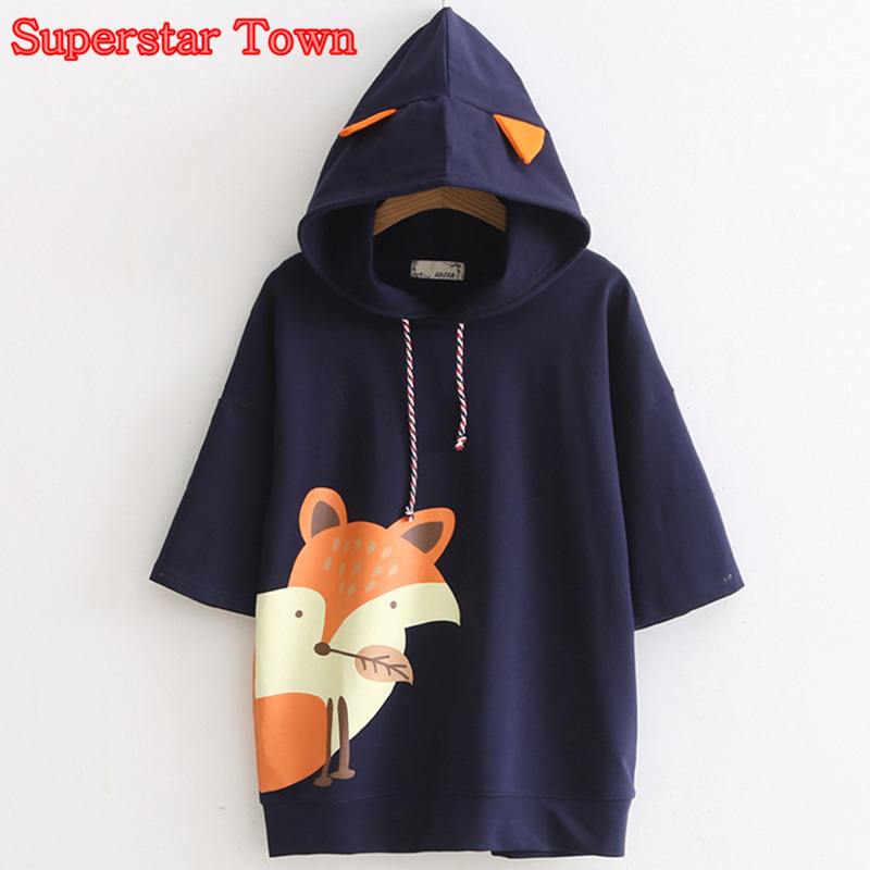 Әйелдер Fox Hoody Shirt Harajuku Жаз Lolita Fox T-Shirt құлақ бар Mori Girl Kawaii Киім Әйелдер Hoody футболкалар