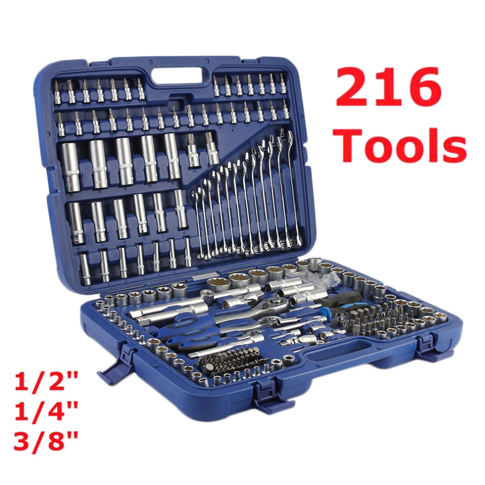 216 Pcs/Set 1/2 inch 1/4 inch 3/8 inch Tool Set Torx Ratchet Socket Spanners Set Screwdriver Bit Car Tool Kit High Quality mainpoint 1 4 1 2 3 8 e socket sockets set cr v torx star bit combination drive socket nuts set for auto car repair hand tool