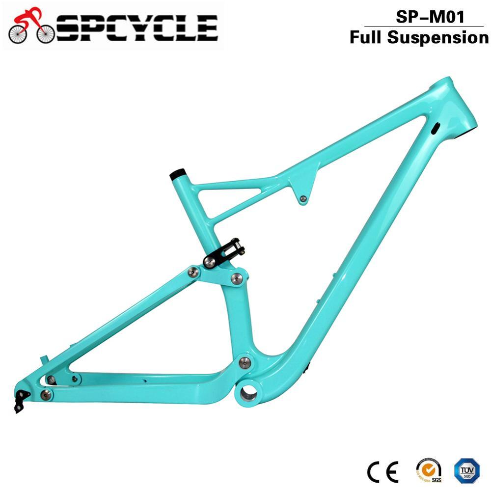 Spcycle 29er Full Suspension Carbon Frame, Carbon MTB Frame 29er Mountain Bike Carbon Frame 142*12mm Thru Axle 165*38mm Travel