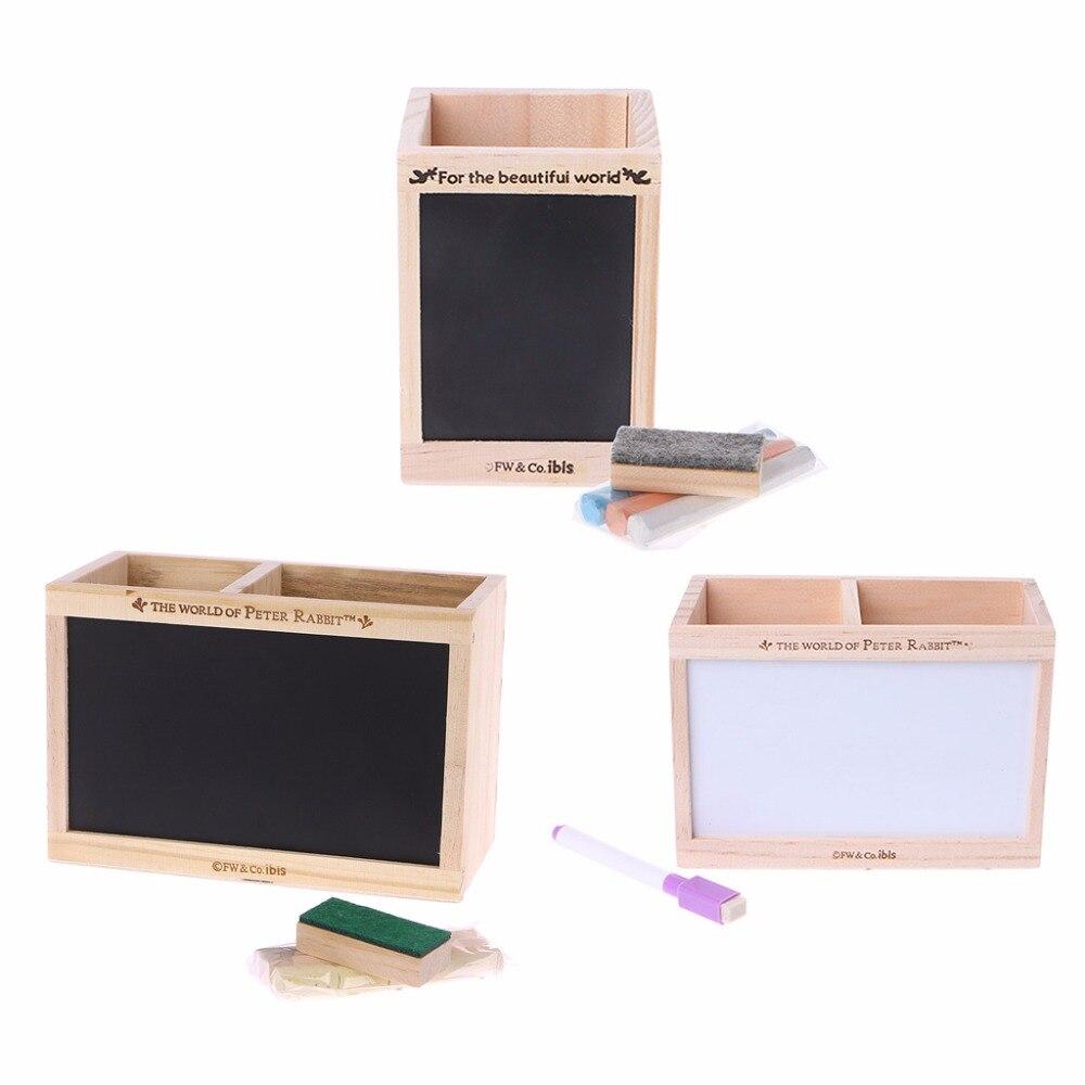 1 Set Wooden Pen Holder Desktop Sundries Storage Box With Message Board Pen Case Holder Makeup Organizer New v cut wooden makeup organizer
