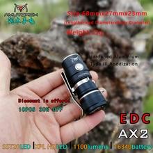 Amutorch AX2 XPL HD/SST20 Mini LED el feneri 1100 LM güçlü 16340 veya 18350 pil EDC el feneri ışıklı anahtarlık el lambası