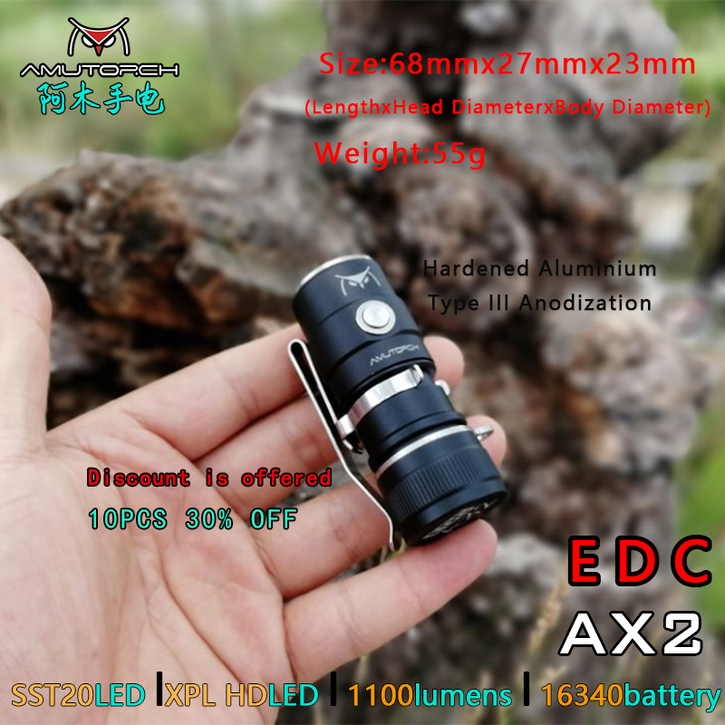 Amutorch AX2  XPL HD/SST20 Mini Led Flashlight 1100 LM Powerful 16340 Or 18350 Battery EDC Flashlight Keychain Light Hand Lamp