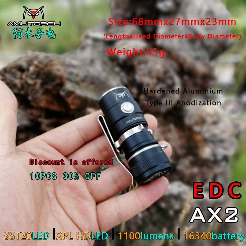 Amutorch AX2  XPL HD/SST20 Mini Led Flashlight 1100 LM Powerful 16340 Or 18350 Battery EDC Flashlight Keychain Light Hand Lamp