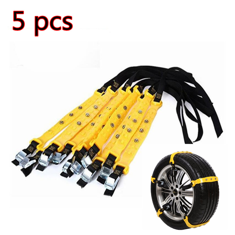 5pcs Auto Car Tire Anti-skip Snow Chains TPU Beef Tendon Durable Car SUV Winter Safe Driving Belt For Ice Snow Sand Mud Road