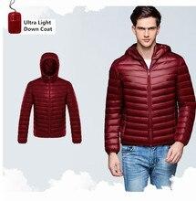 Man Autumn Jacket 90% White Duck Down Jackets Men Hooded Ultra Light Down Jackets Winter Warm Coat Parkas