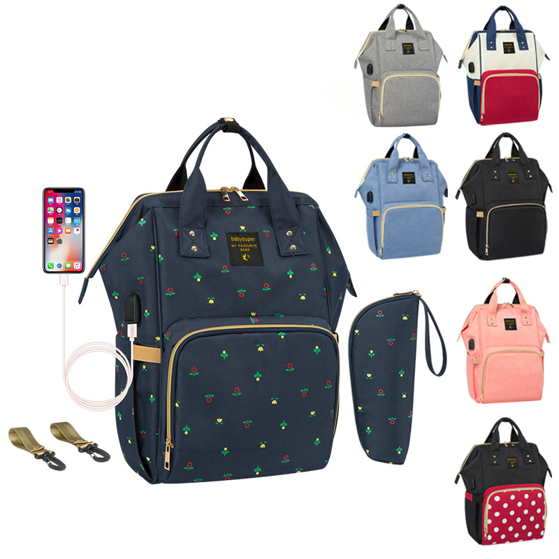 Sac à langer pour bébé sac à dos avec Interface USB sac à dos de soins de maternité de grande capacité imperméable 3 en 1 poussette sac d'infirmière