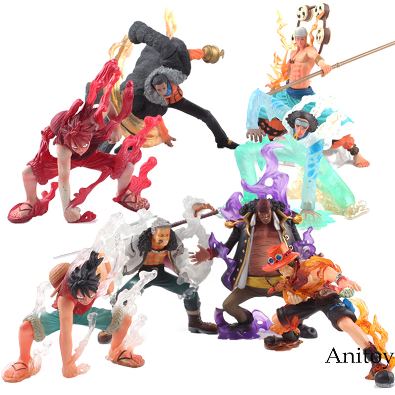 One Piece Figure Anime Luffy Enel Aokiji Kuzan Sir Crocodile Smoker Marshall D Teach PVC Action Figure Toys 4pcs/set 8-13.5cm