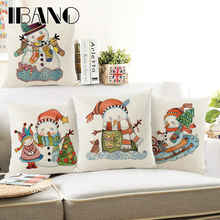 Snowman Cushion Cover Merry Christmas 45x45cm Pillow Cases Happy New Year Gift Bedroom Sofa Decorations For Home