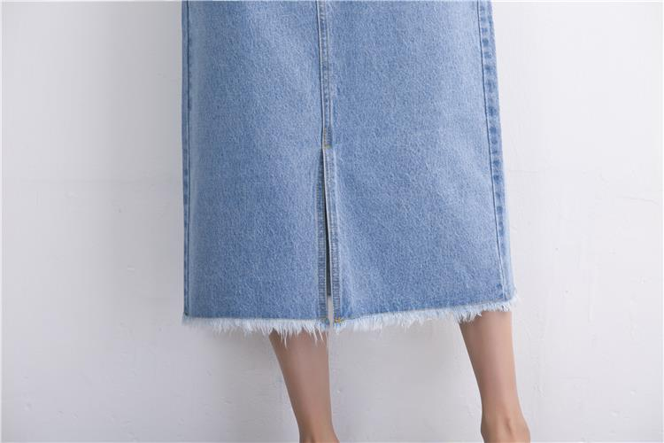 Slits a word denim skirt female 2016 new winter high waist a word length denim skirt 28