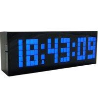 Big Blue LED Digital Number Large Led Snooze Wall Desk Alarm Calendar Time Clock Electronic