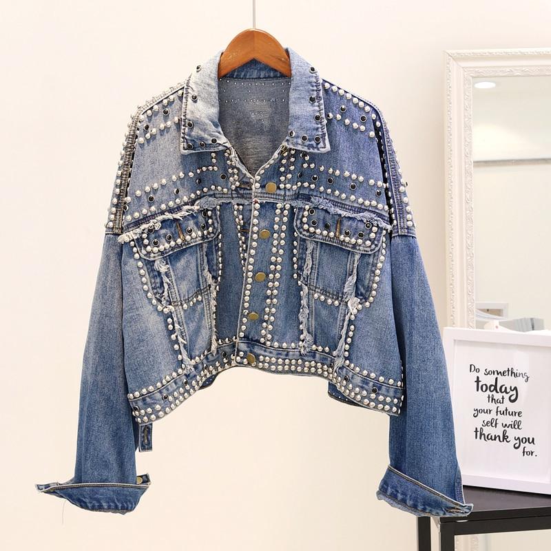 Automne femmes Denim veste Streetwear Style Punk lâche Rivet perlé lâche Bomber manteaux Outwear coréen Chic court Vintage hauts