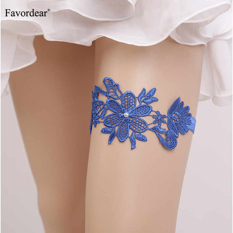Favordear Blue/Black/Navy Lace Floral Leg Ring Wedding Garter 1 PC Fashion Stocking Pearls Bridal Garter for Women/Bride