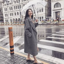 2018 Winter Coat Women Houndstooth Woolen Overcoat Loose Thick Ladies Coats Plaid Korean Coat Fashion Plus Size Long Coat