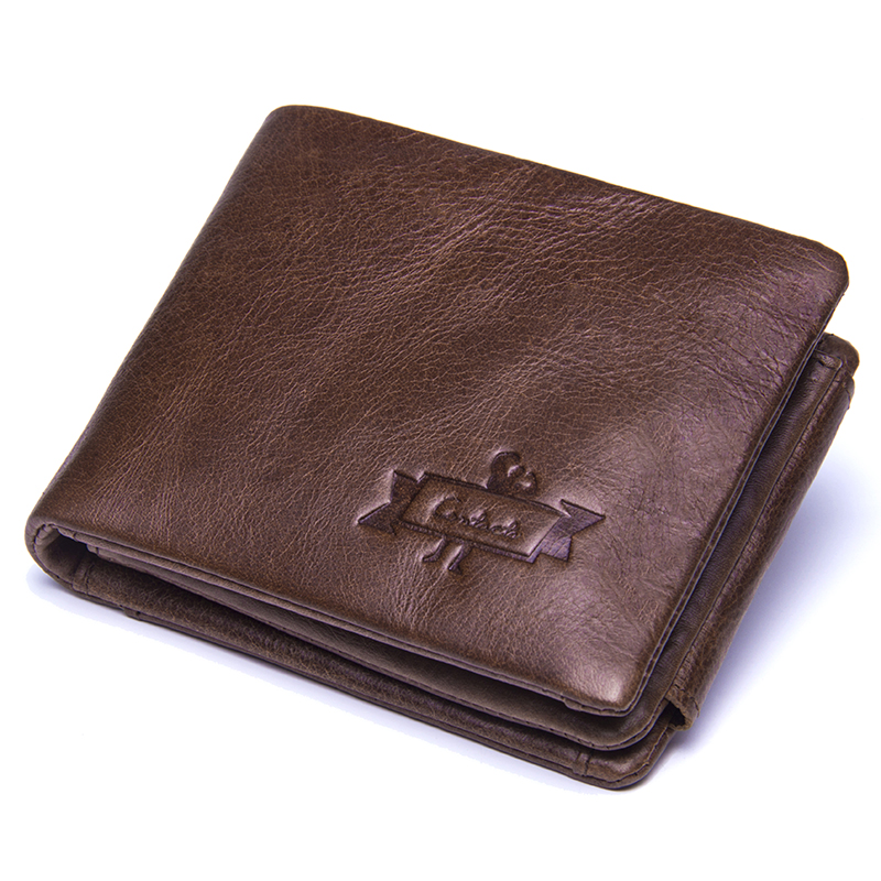 CONTACT'S Genuine Crazy Horse Leather Men Wallets Vintage Trifold Wallet Zip Coin Pocket Purse Cowhide Leather Wallet For Mens 1