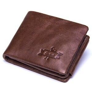 Image 2 - CONTACTS prawdziwa skóra Crazy Horse mężczyźni portfele Vintage potrójnie składany portfel Zip Coin Pocket torebka skóra bydlęca portfel dla mężczyzn