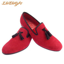 Basic Men Shoes Fashion Velvet Casual Shoes Red/Black Loafers Handmade Tassel Top Quality Brand Leisure Flat Shoes Slip On Comfy