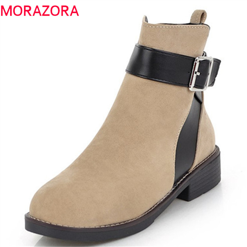 MORAZORA 2018 new arrival ankle boots for women flock autumn boots round toe comfortable low heels shoes woman black MORAZORA 2018 new arrival ankle boots for women flock autumn boots round toe comfortable low heels shoes woman black