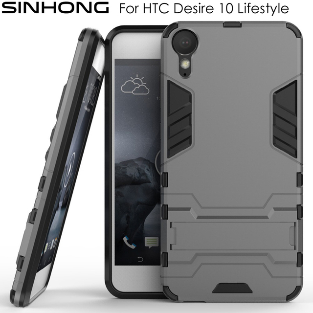 eff1e5c1bda Shockproof Hard Phone Covers For HTC Desire 10 Lifestyle Case Armor Back  Funda Dual Layer Protective Coque With Kickstand