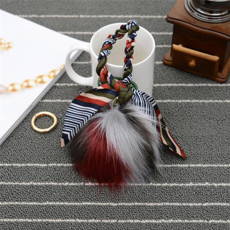 Hot Sale Fur Pom Pom key chain Key Ring Bag car Charm Men Women Fur pom pom Plush Keychain EH-761