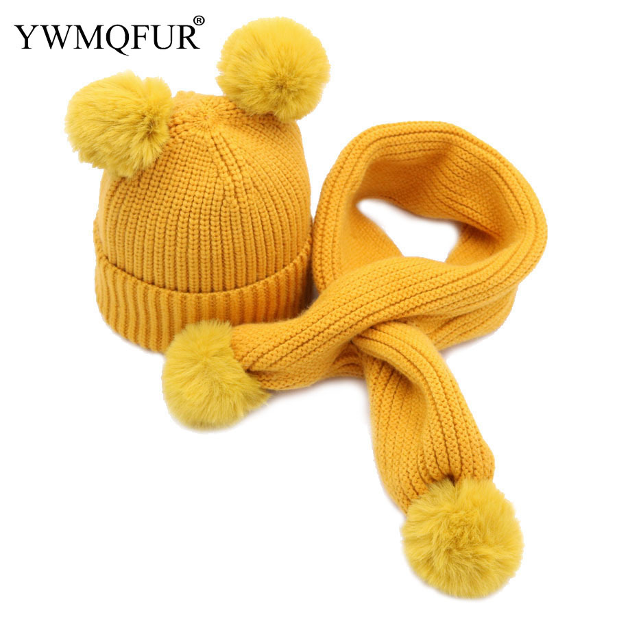 2018 autumn and winter new style, children's double woolen hat scarf, boy, girl's knitted caps.