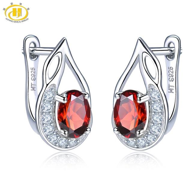 Hutang Garnet Earrings Natural Gemstone Zircon Solid 925 Sterling Silver Fine Fashion Stone Jewelry For Women Girl Best Gift New