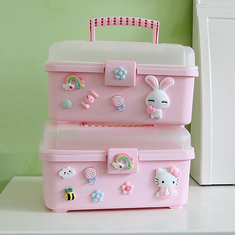 Hello Kitty Plastic Storage Box Storage Organizer Small Medicine Box Family Storage Box Portable Medical Kit Hello Kitty Makeup
