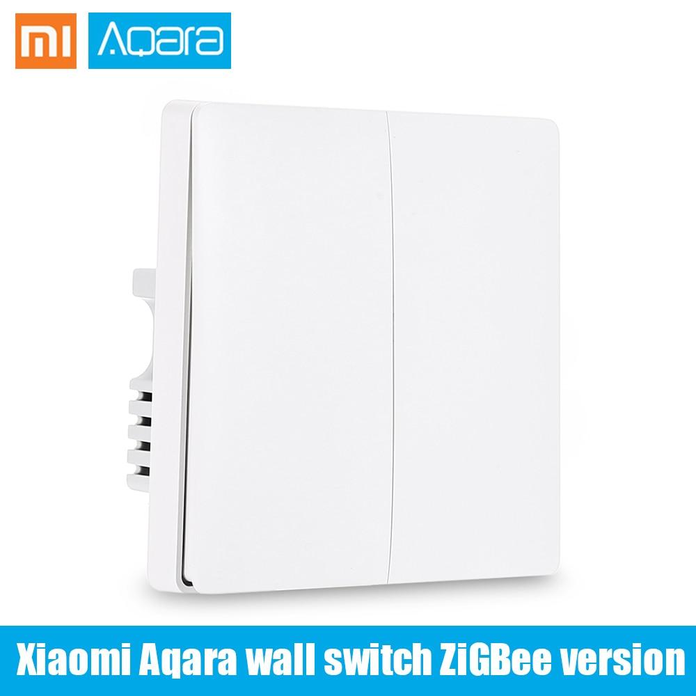 Xiaomi Aqara Wall Switch Smart Remote Light Control Mijia Single Key Double Key ZigBee Version Single Firewire Phone APP Control xiaomi aqara smart light control fire wire и zero line single key version