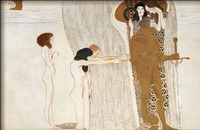 Gustav Klimt Portrait painting Women BEETHOVEN FRIEZE DESIRE FOR HAPPINESS Canvas Reproduction High quality Handmade Wall art