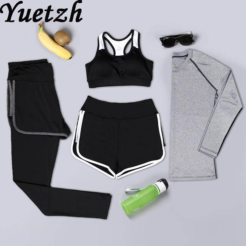 4 pièce de course sport costume survêtement sportwear femmes soutien-gorge T-shirt vêtements Russe fitness sport wear longue pleine manches pantalon ensemble