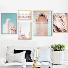 Morocco Door Dome Mosque Quotes Wall Art Canvas Painting Nordic Posters And Prints Landscape Wall Pictures For Living Room Decor(China)