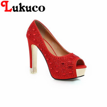 Lukuco sexy pure color women peep toe party pumps PU made super high spike heel shoes with rhinestones design