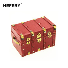 1/12 Dollhouse Miniature Accessories Mini Wooden Red Trunk Simulation Furniture Suitcase Model Toys for Doll House Decoration(China)